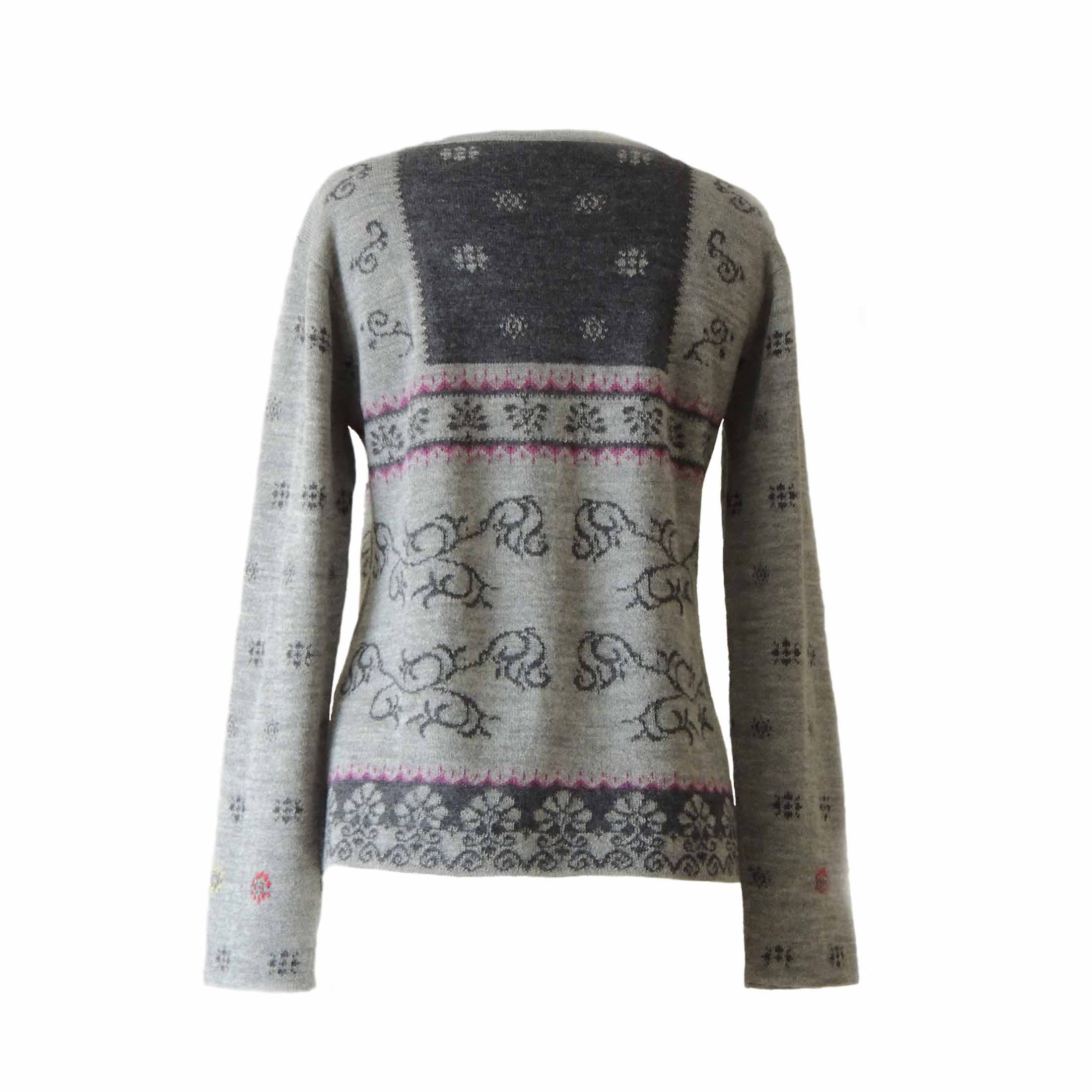PopsFL knitwear wholesale Women's cardigan jacquard knitted  with hand embroidered details 100% baby alpaca.