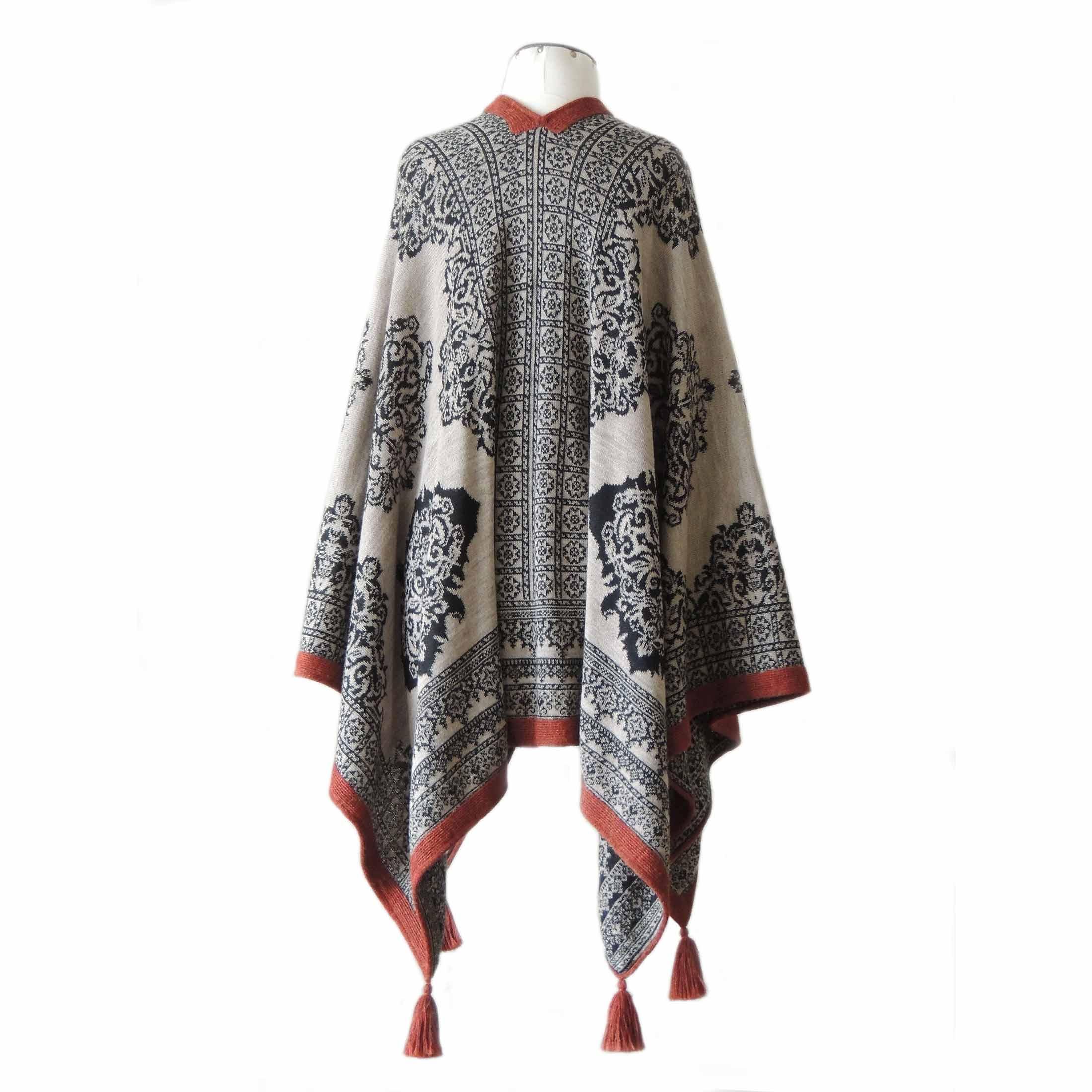PopsFL knitwear wholesale Women's ruana - wrap reversible jacquard knitted with pattern and tassels 100% baby alpaca.