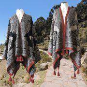 PopsFL Knitwear Women poncho reversible 100% baby alpaca