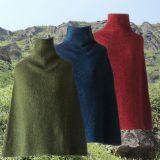 PopsFL Knitwear Womens poncho / scarve in felted alpaca blend
