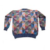 PopsFL Knitwear wholesale Men sweater with all over colorful graphic pattern, crew neck 100% alpaca.