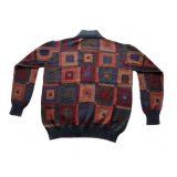 PopsFL knitwear wholesale Men cardigan full zipp graphic, high neck, 100% alpaca.