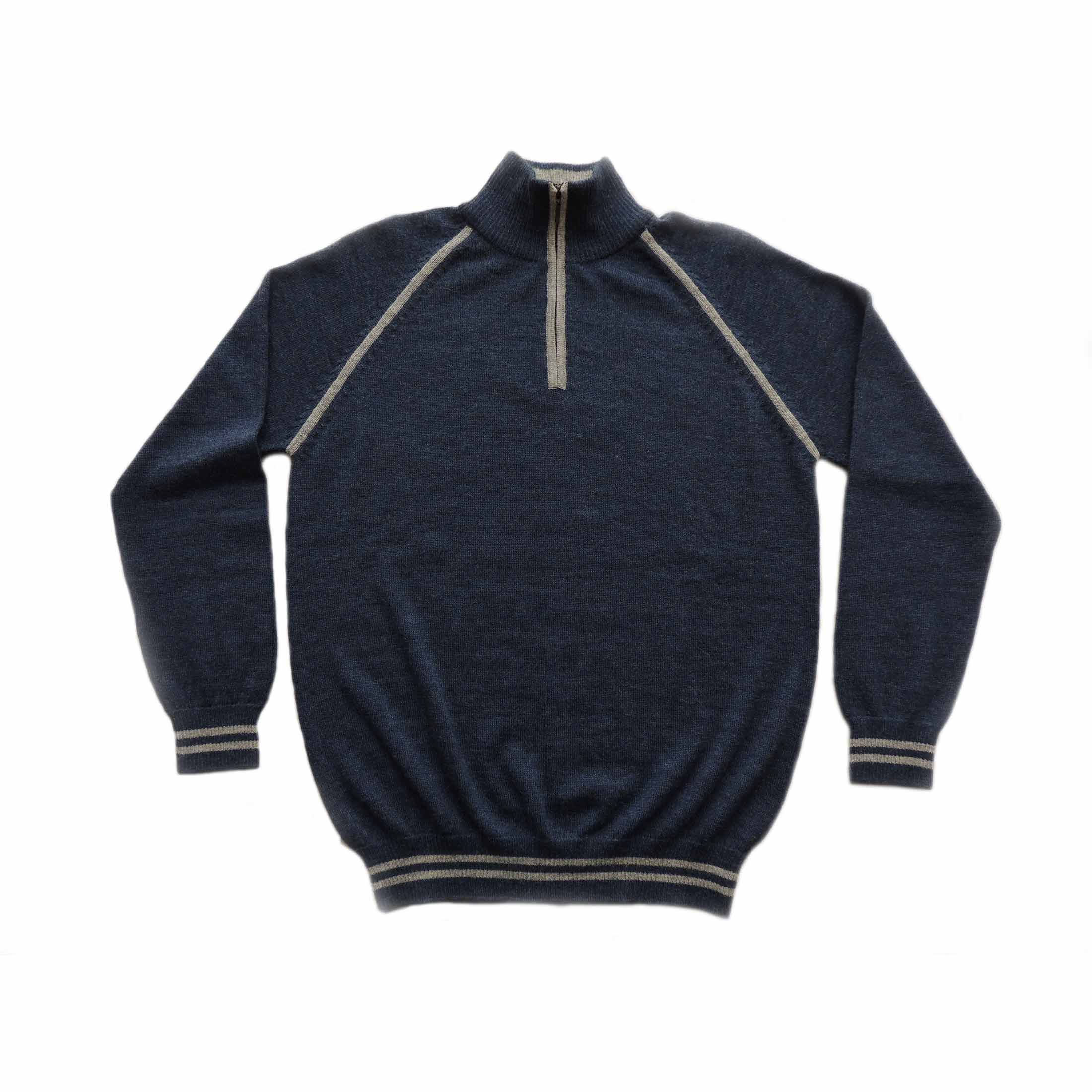 Men sweater with quarter zip, high closed neck, solid color with contrast color details, 100% baby alpaca.
