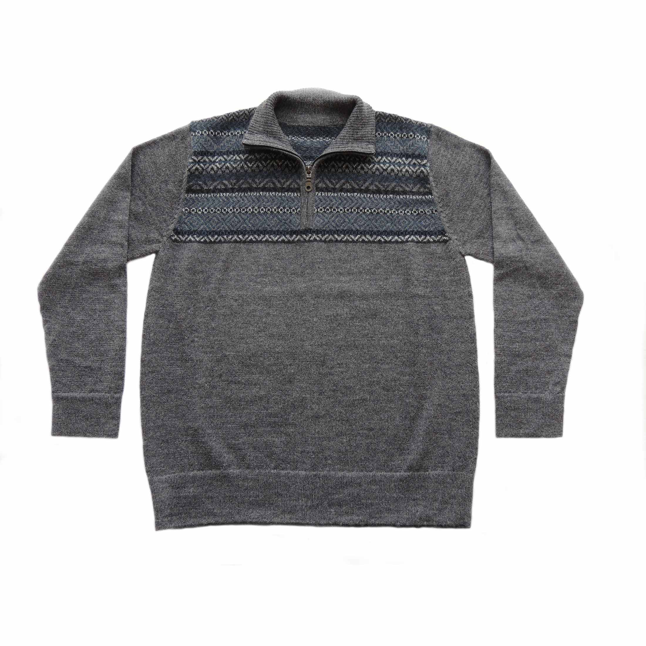 PopsFL Knitwear wholesale Men sweater with quarter zip, high closed neck, solid color with jacquard knitted details, 100% baby alpaca.
