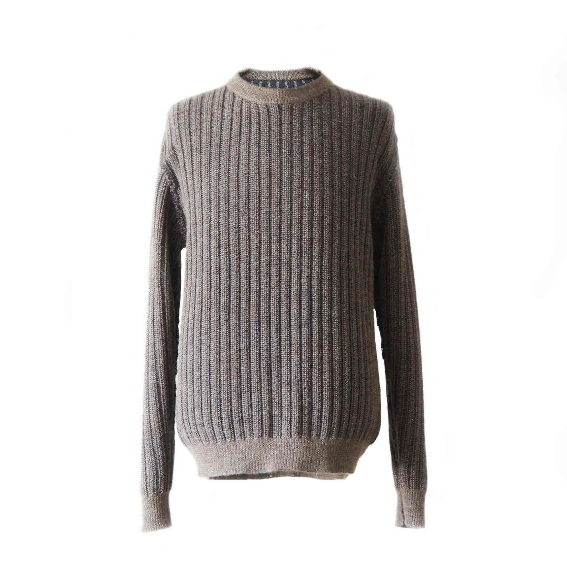 PopsFL Knitwear Wholesale Men sweater  chunky rib knitted reversible, with crew neck 100% alpaca
