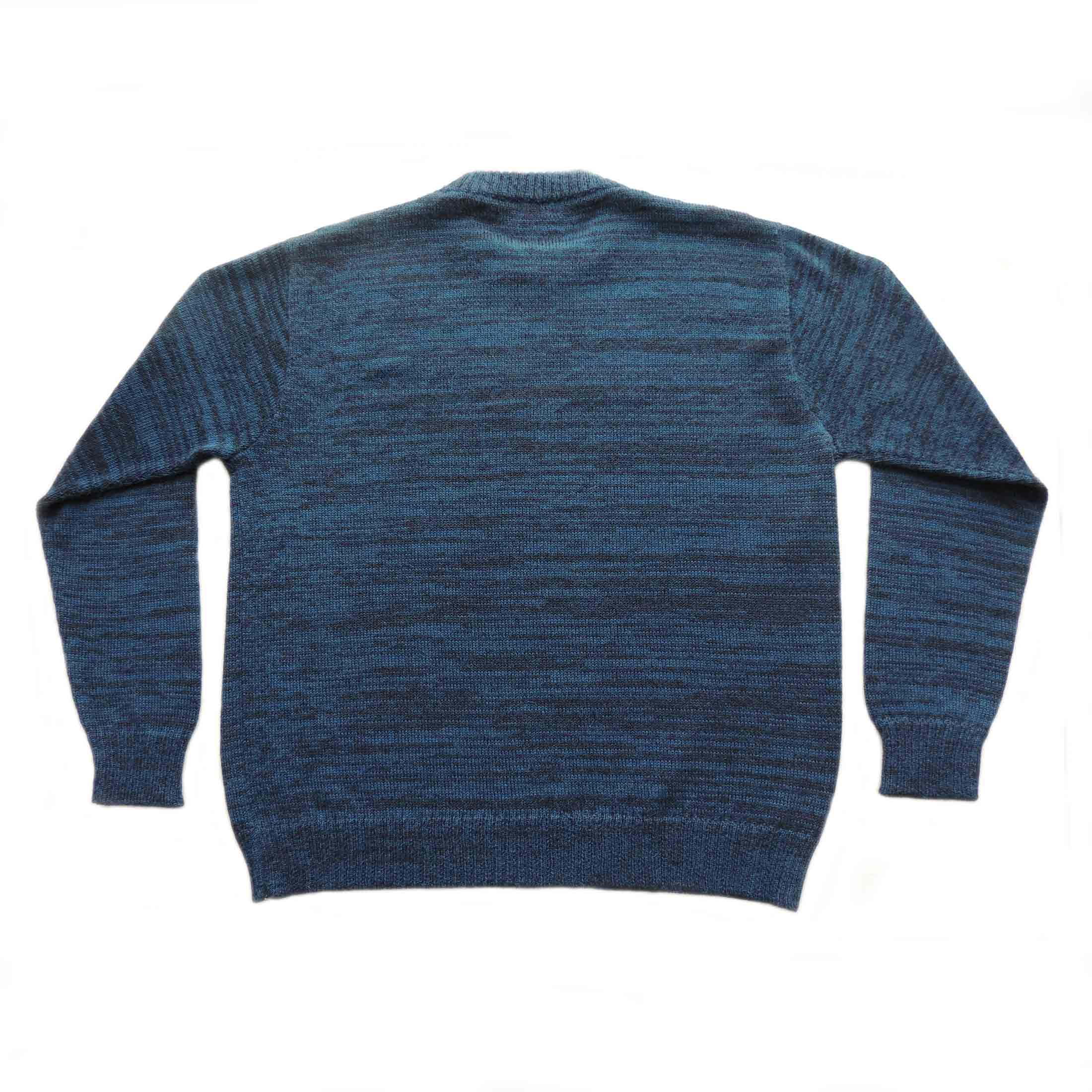 PopsFL knitwear wholesale Men sweater kintted in a melange 2 colors with crew neck, 100% alpaca.